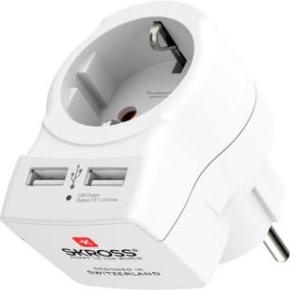 Incarcator priza cu 2 x USB, Skross ADAPT-PLUG-EU/EU/USB-SKRS