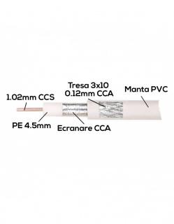 Rola 100m cablu coaxial 75 ohm RG6 CCS + tresa CCA, A0057560