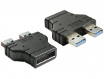Adaptor USB 3.0 pin header tata la 2 x USB 3.0-A tata paralel, Delock 65398