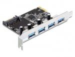 Placa PCI Express cu 4 porturi USB 3.0, Delock 89297