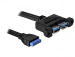 Cablu intern USB 3.0 pin header la 2 x USB 3.0, Delock 82941